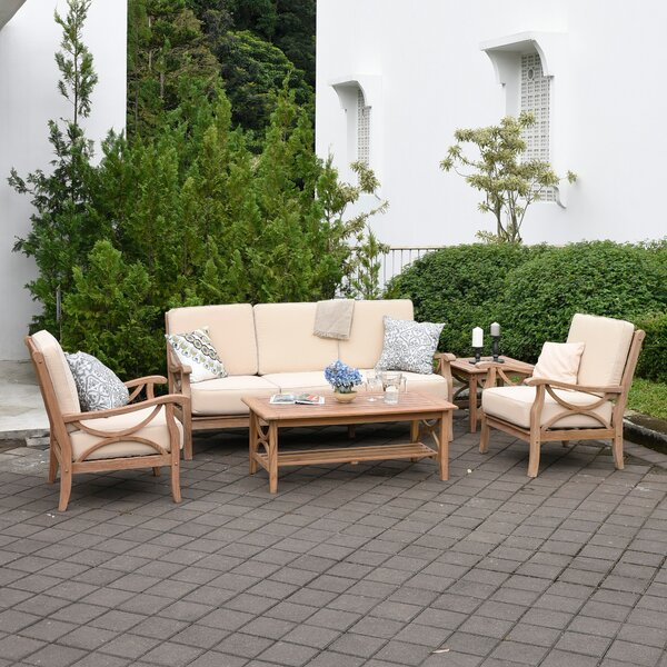 Coronel 5 Piece Teak Sofa Seating Group with Cushions by Gracie Oaks