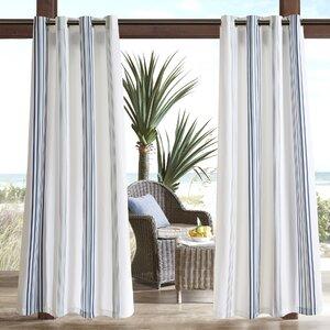 Corbin Striped Light Filtering Outdoor Single Curtain Panel