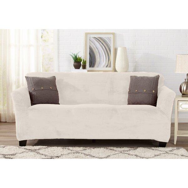 Velvet Plush Form Fit T-Cushion Sofa Slipcover By Symple Stuff.
