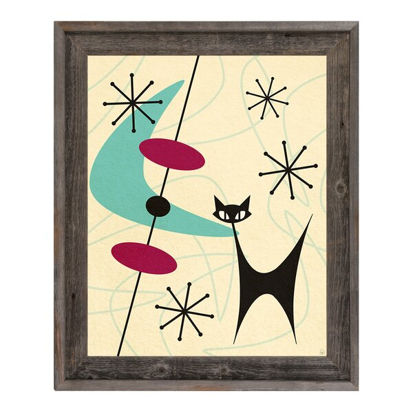 Retro Space Cat Boomerang Framed Graphic Art on Canvas by Click Wall Art