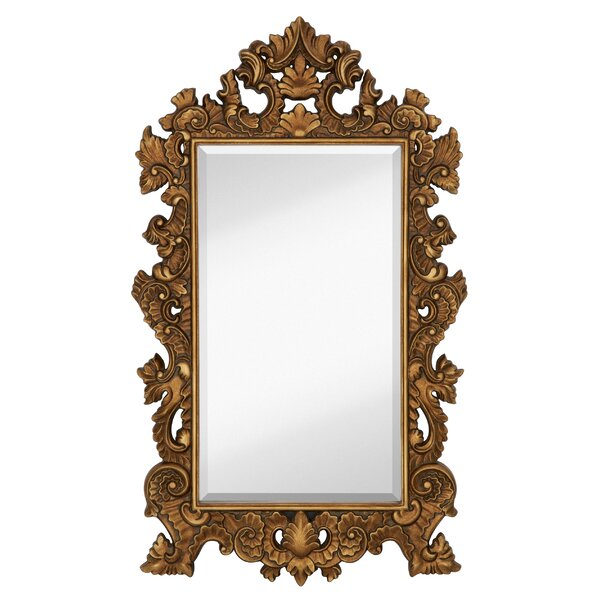 Tall Rectangle Traditional Accent Mirror with Decorative Antique Gold Leaf Frame by Majestic Mirror
