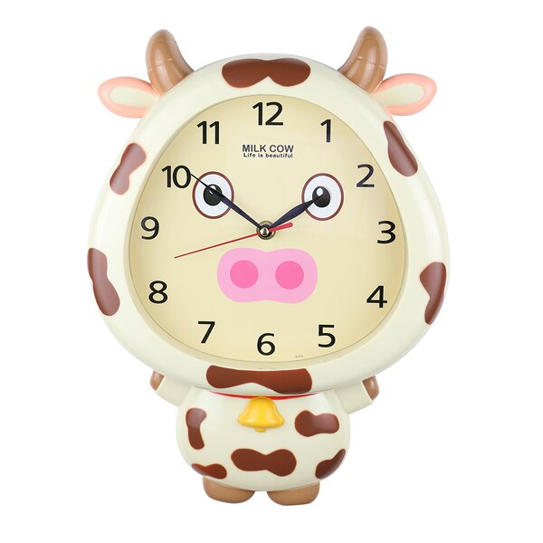 Guifford Cow Interactive Eyes Cute Wall Clock by Zoomie Kids