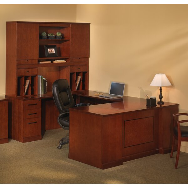 Sorrento Series U-Shape Executive Desk with Hutch by Mayline Group