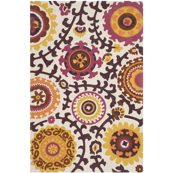 Charla Ivory & Pink Floral Rug by Ebern Designs