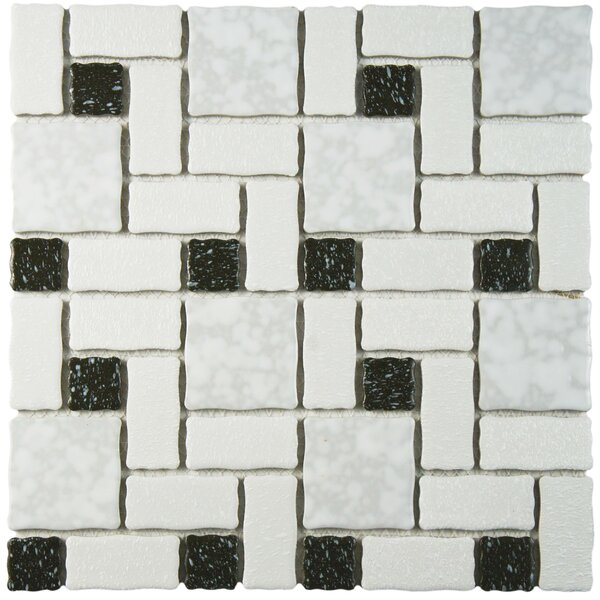 Pallas Random Sized Porcelain Mosaic Tile in White/Black by EliteTile