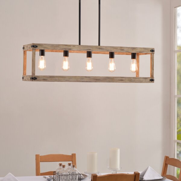 Pulver 5 - Light Rectangle Chandelier With Wood Accents By Gracie Oaks