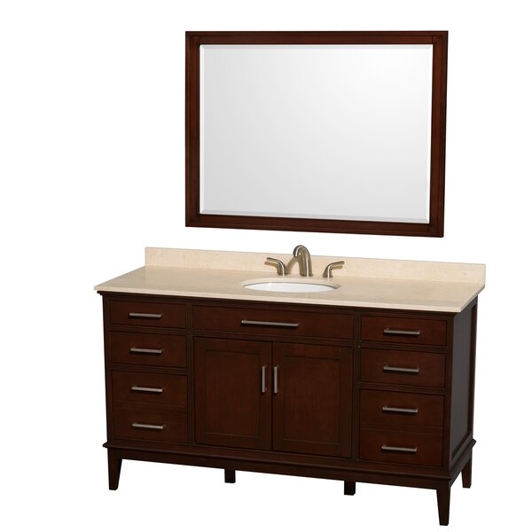 Hatton 60 Single Dark Chestnut Bathroom Vanity Set with Mirror by Wyndham Collection