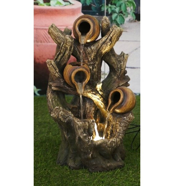 Polyresin Pouring Jugs on Tree Trunk Fountain with LED Light by Hi-Line Gift Ltd.