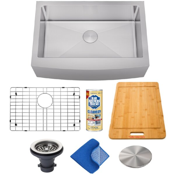 Combo 30 L x 21 W Farmhouse Kitchen Sink with Basket Strainer