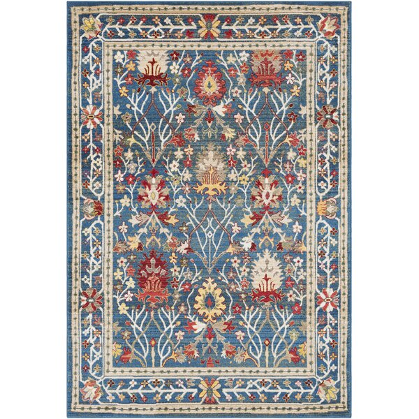 Arbouet Traditional Floral Navy/Khaki Area Rug by Charlton Home