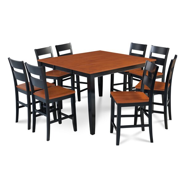 Charlestown 9 Piece Counter Height Solid Wood Dining Set by Alcott Hill Alcott Hill