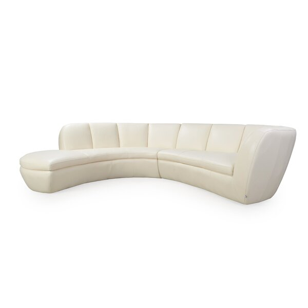 Filander Leather Sectional by Orren Ellis