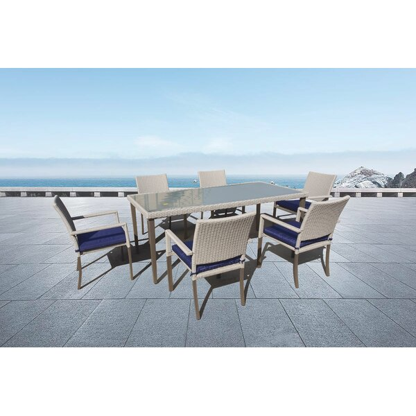 Cray 7 Piece Sunbrella Dining Set With Sunbrella Cushions By Highland Dunes