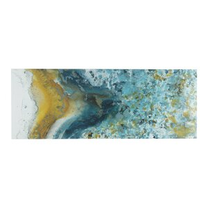 Shattering Rock Yellow Painting Print on Canvas Set by INK+IVY