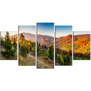 'Majestic Fall Mountains Panorama' 5 Piece Wall Art on Wrapped Canvas Set by Design Art