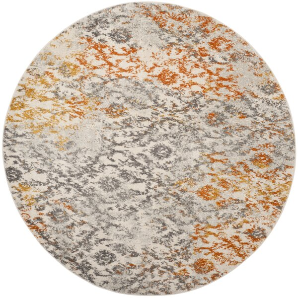 Grieve Gray/Orange Area Rug by Bungalow Rose
