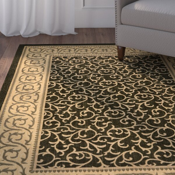 Short Black / Natural Indoor/Outdoor Rug by Winston Porter