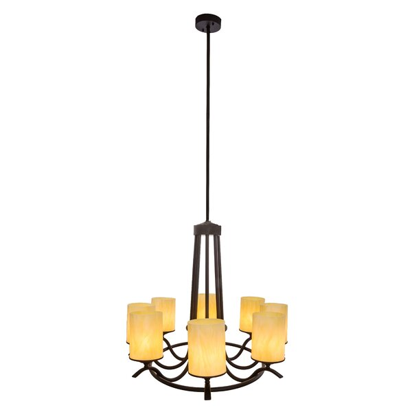 Ousley 8 - Light Shaded Wagon Wheel Chandelier By Canora Grey