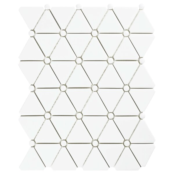 Esamo 10.13 x 12.88 Glass Mosaic Tile in White by EliteTile