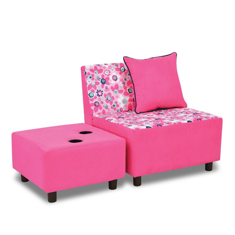 Tween Kids Chair And Ottoman With Cup Holder