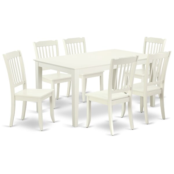 Laforge 7 Piece Solid Wood Dining Set by August Grove