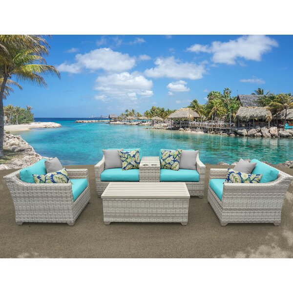 Ansonia 6 Piece Rattan Sectional Seating Group wit