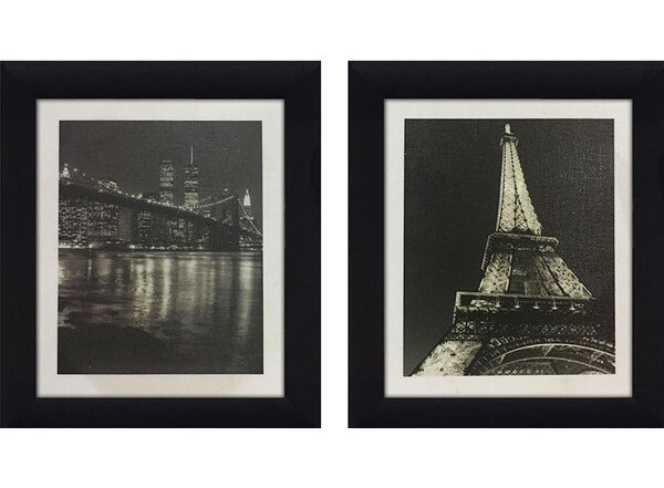 Eiffel Tower & Brooklyn Bridge 2 Piece Framed Photographic Print on Canvas Set by Picture Perfect International