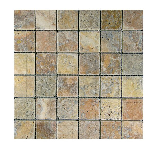 Tumbled 2 x 2 Natural Stone Mosaic Tile in Fantastico by QDI Surfaces