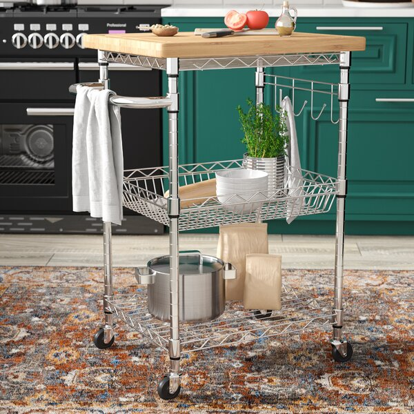 Medrano Kitchen Cart with Wood Top by Rebrilliant