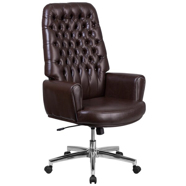 Broadwell Traditional Tufted Swivel High Back Executive Chair by Alcott Hill