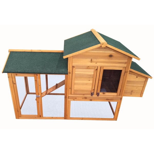 Fir Wood Hutch Chicken Coop with Roosting Bar by N