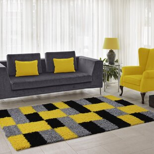 Squared Box Shaggy Yellow Rug
