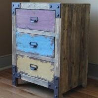 Vintage Antique 3 Drawer Nightstand by International Caravan International Caravan