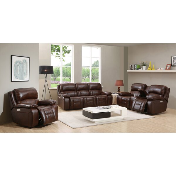 Korhonen 3 Piece Leather Reclining Living Room Set by Red Barrel Studio