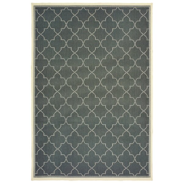 Salerno Simple Lattice Gray Indoor/Outdoor Area Rug by Charlton Home