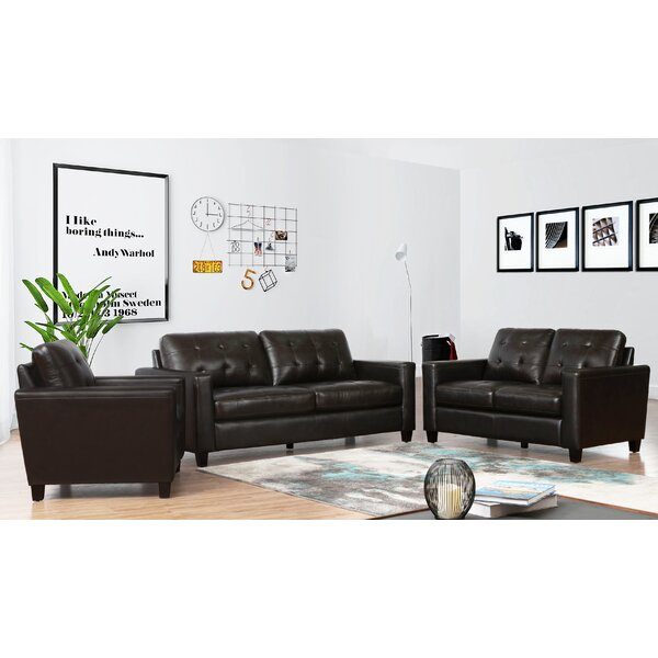 Dion 3 Piece Leather Living Room Set by 17 Stories