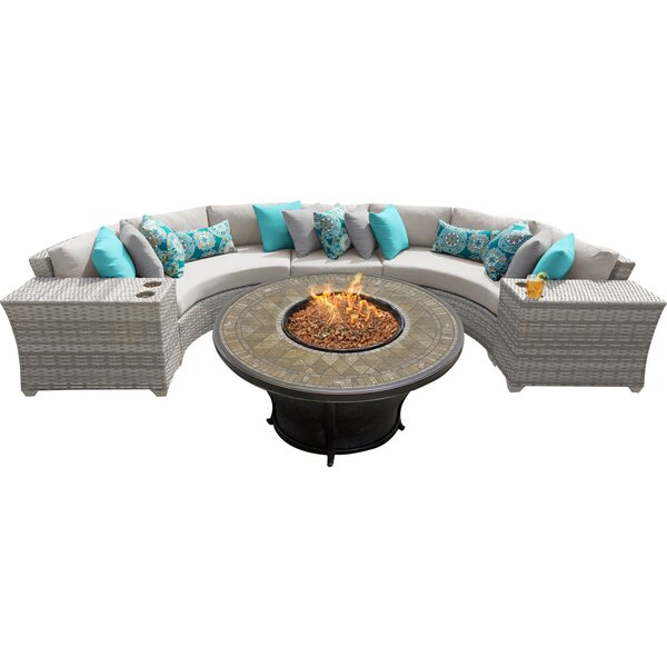 Falmouth 6 Piece Rattan Sectional Seating Group with Cushions by Sol 72 Outdoor