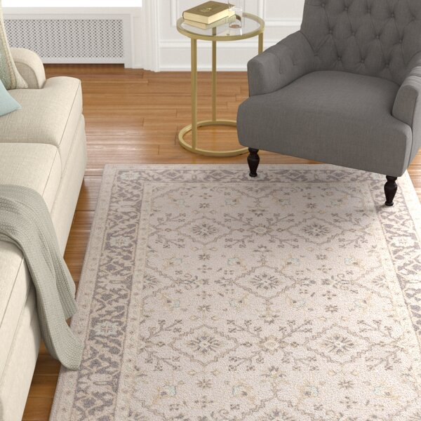 Pottershill Hand-Tufted Beige/Charcoal Area Rug by Alcott Hill