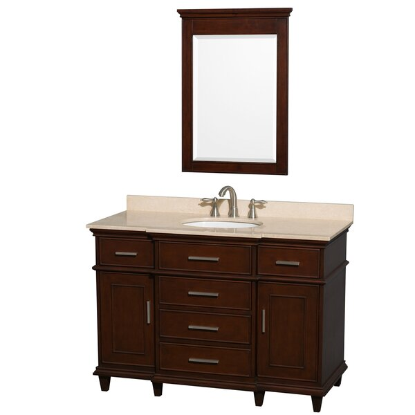 Berkeley 48 Single Dark Chestnut Bathroom Vanity Set with Mirror by Wyndham Collection