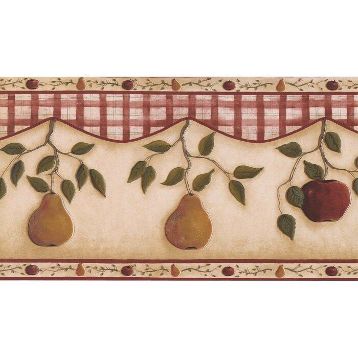 15\' L x 13.5\'\' W Apple Pear on Vine Kitchen Bathroom Extra Wide Retro  Design Wallpaper Border