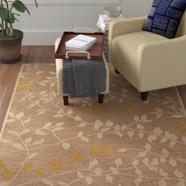 Holoman Transitional Floral Beige/Yellow Area Rug by Winston Porter