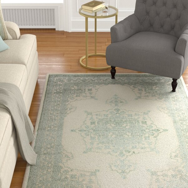 Wesner Machine Woven Synthetic Green/Ivory Indoor Area Rug by Astoria Grand