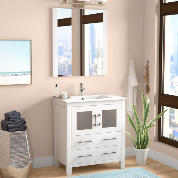 Cartagena 30 Single Bathroom Vanity Set with Ceramic Top and Mirror by Mercury Row