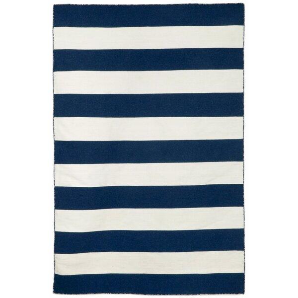 Ranier Stripe Hand-Woven Navy Indoor/Outdoor Area Rug by Beachcrest Home