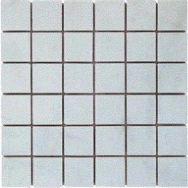2 x 2 Marble Mosaic Tile in Bianco Venantino by Ephesus Stones