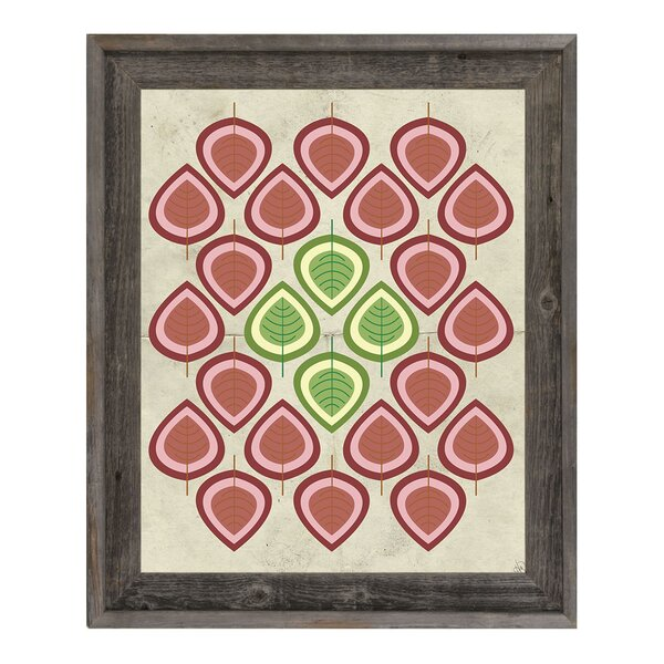 Retro Leaves Red Framed Graphic Art on Canvas by Click Wall Art
