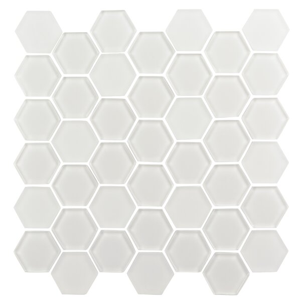 Pure Hexagon 2 x 2 Glass Mosaic Tile in Ice White by Madrid Ceramics
