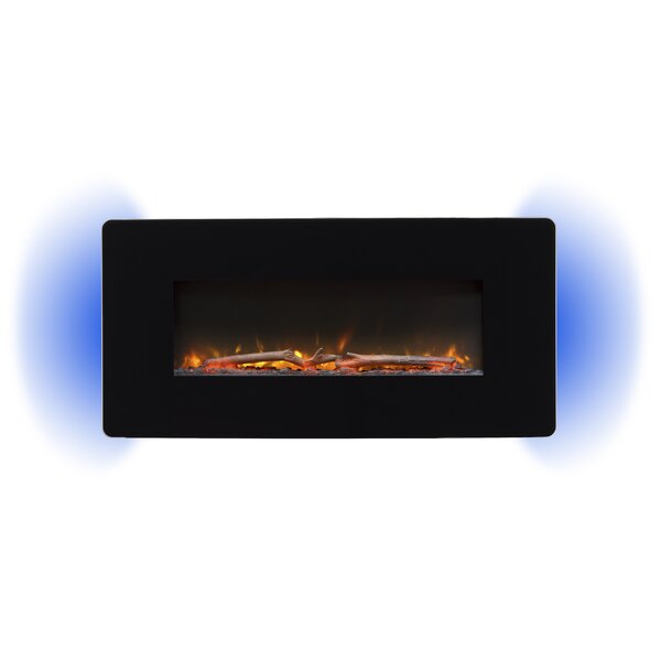 Stockwell Series Curved Glass Wall Mounted Electric Fireplace by Ebern Designs