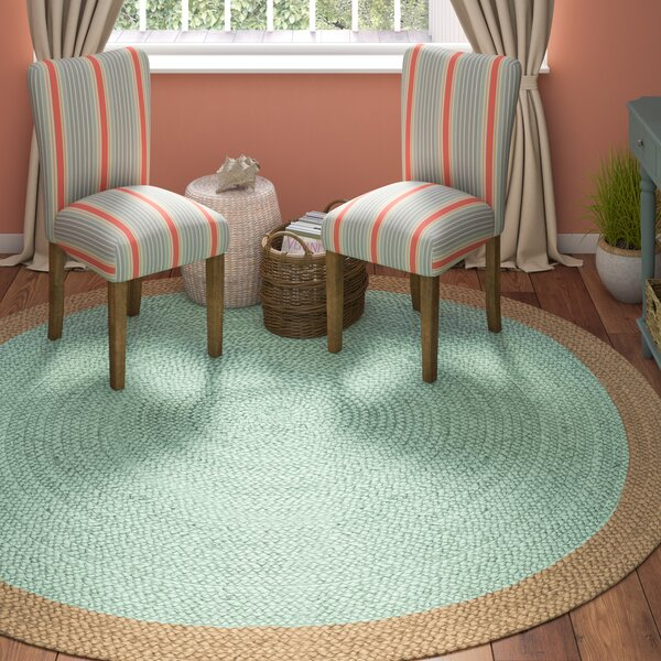 Cayla Fiber Hand-Woven Aqua/Natural Area Rug by Beachcrest Home