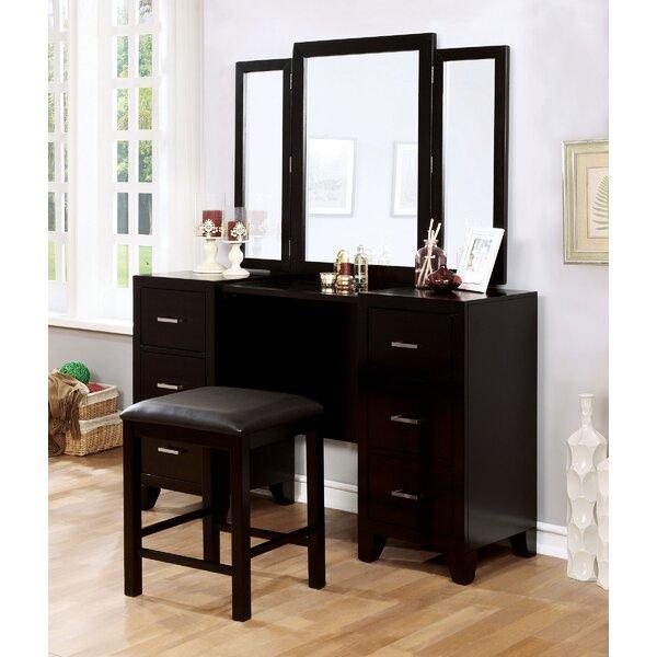Harrelson Vanity Set with Stool and Mirror by Latitude Run Latitude Run